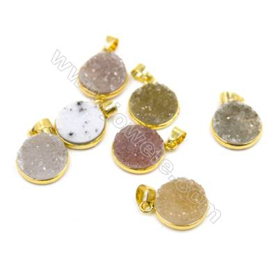 Dyed Round Electroplating Natural Druzy Agate Pendants, plated gold, Diameter 16mm, Thick 6~7mm, 5pcs/pack