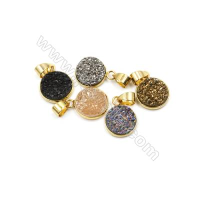 Dyed Round Electroplating Brass Natural Druzy Agate Pendants, plated gold, Diameter 13mm, Thick 4~6mm, 5pcs/pack