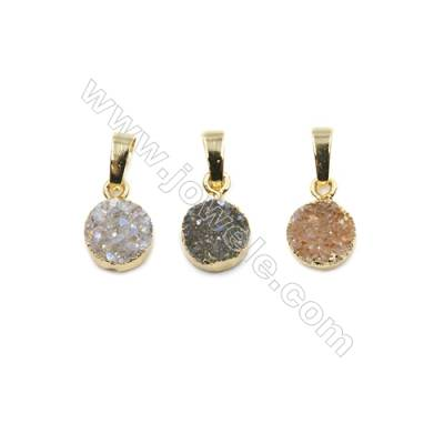 Dyed Round Electroplating Brass Natural Druzy Agate Pendants, plated gold, Diameter 10mm, Thick 4~6mm, 7pcs/pack