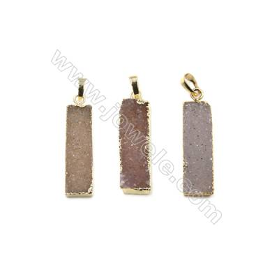 Dyed Rectangle Electroplating Brass Natural Druzy Agate Pendants, plated gold, Size 34~35 x 10~11 x 6~7mm, 3pcs/pack