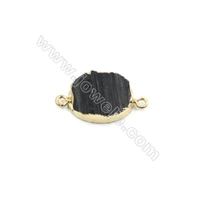 Natural Black Tourmaline with Brass Plated Gold Connectors, Oval, Size 20x15mm, Hole 1.5mm, Thick 3~7mm, 8pcs/pack