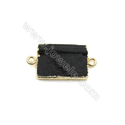 Natural Black Tourmaline with Brass Plated Gold Connectors, Rectangle, Size 20x15mm, Hole 1.5mm, Thick 3~7mm, 8pcs/pack