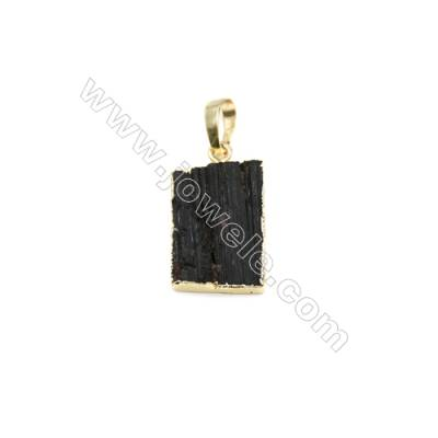 Natural Black Tourmaline with Brass Plated Gold Pendants, Rectangle, Size 20x15mm, Thick 3~7mm, 8pcs/pack