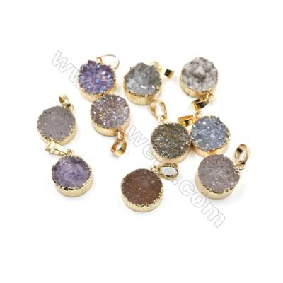 Dyed Round Electroplating Brass Natural Druzy Agate Pendants, plated gold, Diameter 15mm, Thick 6~9mm, 3pcs/pack