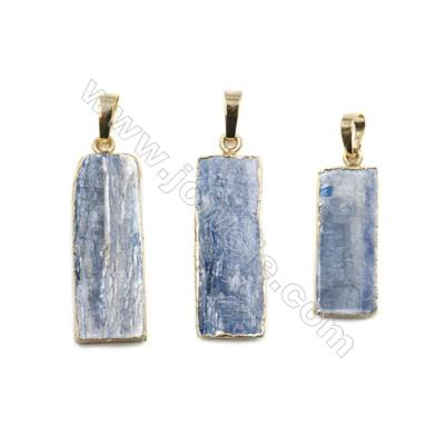 Natural Kyanite with Brass Plated Gold Pendants, Rectangle, Size 30~33 x 12~13 x 3~4mm, 5pcs/pack