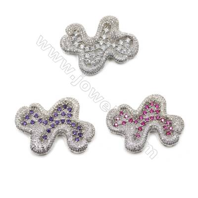 Brass Micro Pave Cubic Zirconia Charms  White Gold  Size 48x40mm  x1pc