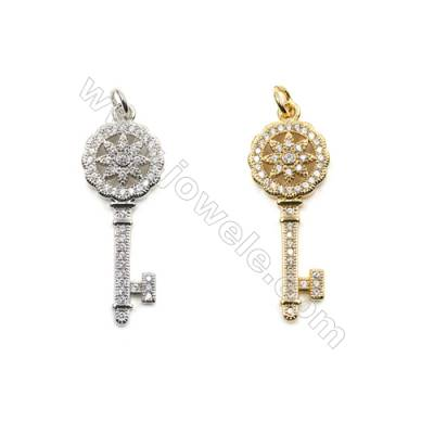 Brass Micro Pave Cubic Zirconia Pendants  (Gold  White Gold) Plated  Key  Size 49x29mm  x20pcs/pack