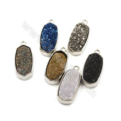 Electroplating Natural Druzy Agate Pendants, Dyed, white gold plated, Flat Oval, Size 25x13mm, Hole 2mm, Thick 7~10mm, 5pcs/pack