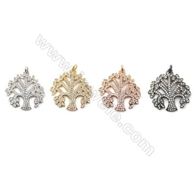 Brass Pave Cubic Zirconia Pendants  Life Tree  Size 27x25mm  x10pcs/pack  (Gold  White Gold  Rose Gold  Gun Black) Plated