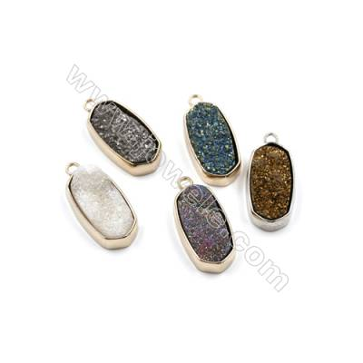 Electroplating Natural Druzy Agate Pendants, rose gold plated, Flat Oval, Size 25x13mm, Hole 2mm, Thick 7~10mm, 5pcs/pack