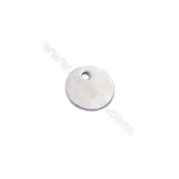 Flat round 925 sterling silver pendant charms to engrave-J07S8  size 8x0.7mm hole 1mm 50pcs/pack