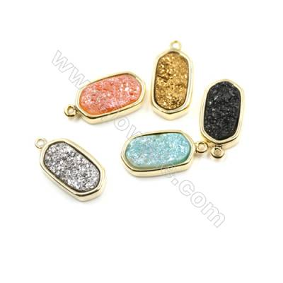 Dyed Flat Oval Electroplating Brass Natural Druzy Agate Pendants, plated gold, Size 10x18mm, Hole 1mm, Thick 4~5mm, 8pcs/pack