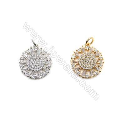 Brass Micro Pave Cubic Zirconia Pendants  (Gold  White Gold) Plated  Round  Diameter 16mm  x12pcs/pack