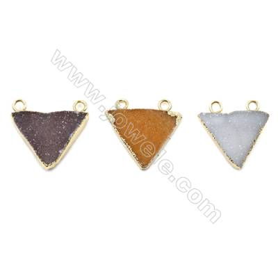 Triangle Electroplating Druzy Agate Inlay Brass Plated Gold Connectors, Size 25~28 x 22~20 x 6~8 mm, Hole 2.5mm, 4 pcs/pack