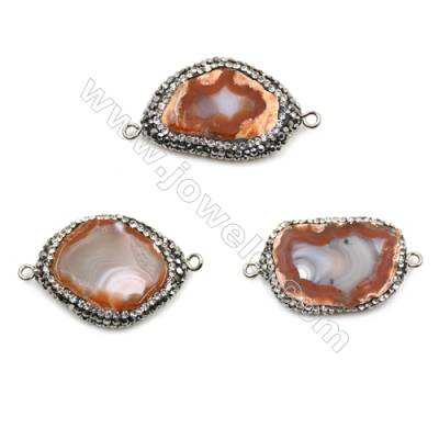 Irregular Red Sardonyx Connectors, with Micro Pave Cubic Zirconia, Size 21~25 x 31~33 x 6~7 mm, Hole 1.5mm, 5 pcs/pack