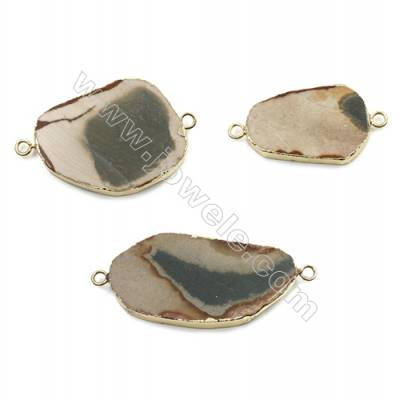 Natural Irregular Imperial Jasper Inlay Brass Plated Gold Connectors, Size 38~53 x 23~33 x 4~8 mm, Hole 2.5mm, 6 pcs/pack