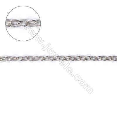 925 sterling silver flat cross link chain findings fit jewelry making-F8S8 size  4.8x2.3mm thick 0.6mm