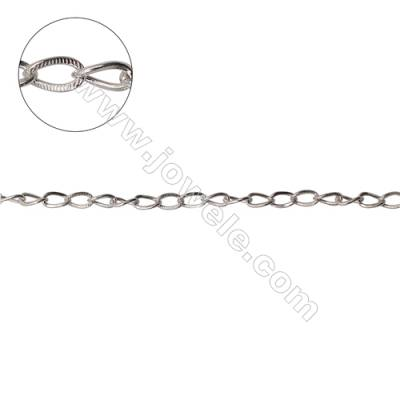 Wholesale 925 sterling silver flat cross chain twisted chain findings fit jewelry making-F8S7 size 5.5x3.2mm