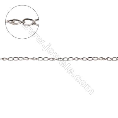Wholesale 925 sterling silver twisted cross link chain findings fit jewelry making-F8S6  size  4.7x3.2mm
