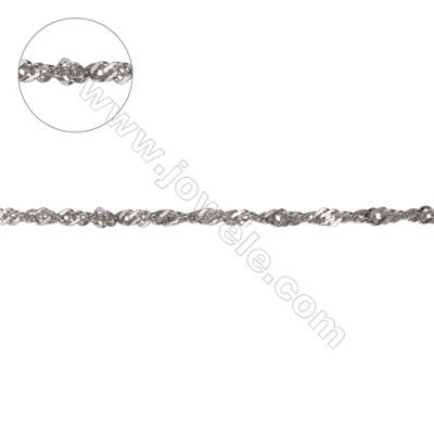 Wholesale 925 sterling silver Singapore link chain fit for jewelry making-F8S4  size  about 2.2x1.7mm