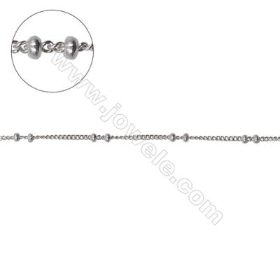 Sterling silver curb chain with roundelle beads-J8S2 size: chain 1.3x1mm thick 0.3mm  beads 1.5x0.9mm X 1meter