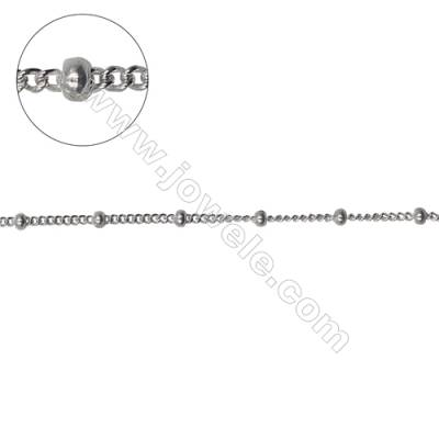 Sterling silver curb chain with rondelle beads-J8S1 Size: chain 1.8x1.5mm  thick 0.4mm beads 2.2x1.5mm