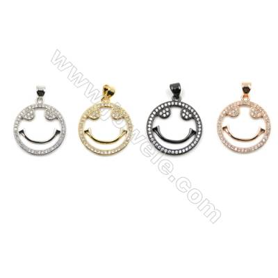 Brass Micro Pave Cubic Zirconia Pendants  Round  (Gold  White Gold  Rose Gold  Gun Black) Plated  Diameter 20mm  x20pcs/pack