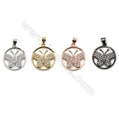 Brass Pave Cubic Zirconia Pendants  Butterfly  Diameter 18mm  x20pcs/pack  (Gold  White Gold  Rose Gold  Gun Black) Plated