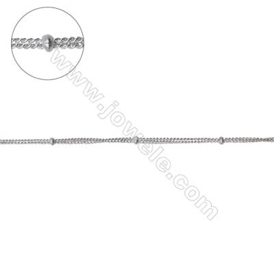 Sterling silver double curb chain with roundelle beads-J8S6 size: chain 1.1x0.9mm thick 0.5mm  beads 1.5x0.9mm