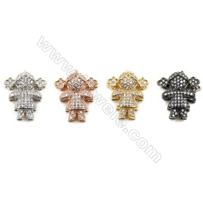Brass Pave Cubic Zirconia Bracelet Charms Girl Size 16x19mm Hole 10mm  x12pcs/pack (Gold White Gold Rose Gold Gun Black)Plated