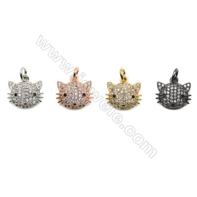 Brass Micro Pave Cubic Zirconia Pendants  Lovely cat  (Gold  White Gold  Rose Gold  Gun Black) Plated  Size 9x12mm  x12pcs/pack
