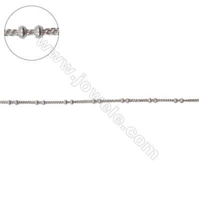 Sterling silver double curb chain with roundelle beads-J8S3 size: chain 1.1x0.85mm  beads 1.8x1mm X 1meter