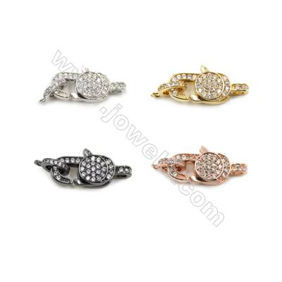Brass Micro Pave Cubic Zirconia Clasps  (Gold  White Gold  Rose Gold  Gun Black) Plated  Size 10x21mm  x10pcs/pack