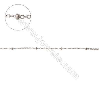 Sterling silver cross chain cable with beads-J8S9 size: chain 1.4x1.15x0.3mm  beads 1.8x1mm X 1meter