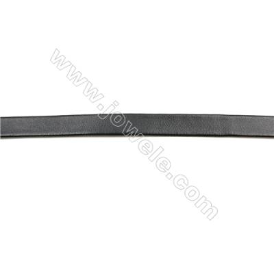 Black Leather Cord  Real Leather Jewelry Cord  Width 10mm  20mt/roll