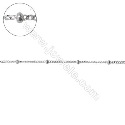 Wholesale sterling silver curb chain with beads-J8S13 chain 1.05x1.4x0.3mm  beads 1.8x1.1mm  X 1 meter