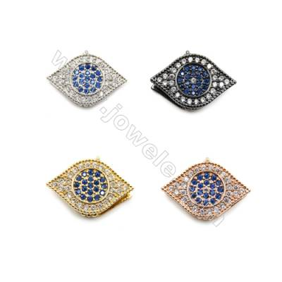 Brass Pave Cubic Zirconia Bracelet Charms Eyes Size 13x19mm Hole 10mm  x12pcs/pack (Gold White Gold Rose Gold Gun Black)Plated