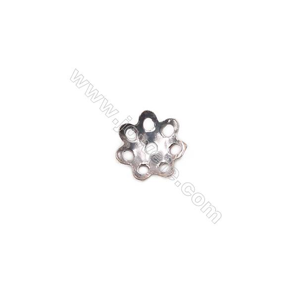 Sterling silver flower shape beads cap  6 x1.5mm hole 0.7mm 200pcs/pack
