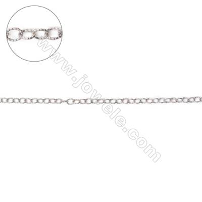 Sterling silver cross chains textured cable chains-G8S15 size 3.7x3x0.6mm