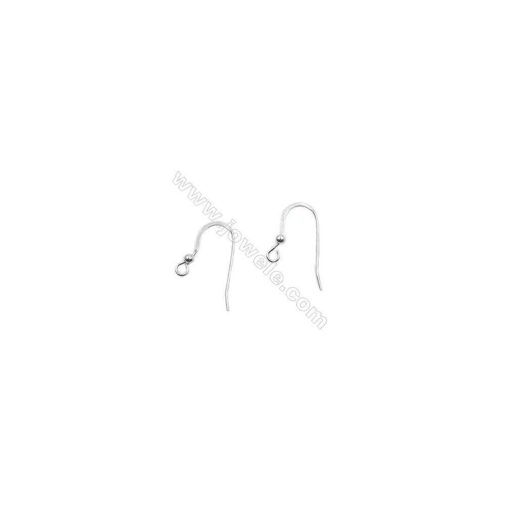Sterling silver platinum plated earring hook with beads-B7S6YF  size 21x9mm x 20pcs/pack  pin 0.6mm  hole 2mm