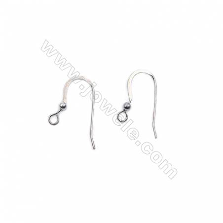 Sterling silver platinum plated earring hook with beads-B7S7YF  size 20X8.5mm x 30pcs/pack  pin 0.6mm  hole 1.4mm