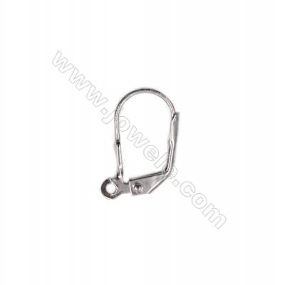Platinum plated sterling silver lever back hook earrings-81050  size 15x9mm x10pcs/pack  pin 0.7mm  pin 1.5mm