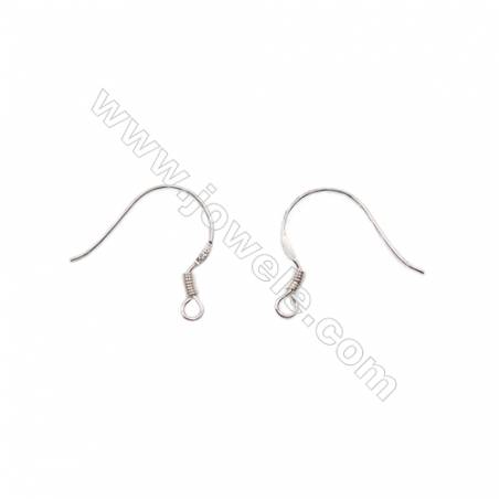 Platinum plated sterling silver earring hook-B7S5YF  size 19x13mm x 30pcs/pack  pin 0.7mm  hole 1.8mm