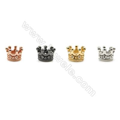 Brass Pave Cubic Zirconia Charms  Crown  Hole 5mm  Diameter 9mm  x50pcs/pack  (Gold  White Gold  Rose Gold  Gun Black) Plated