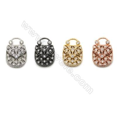 Brass Micro Pave Cubic Zirconia Charms  Handbag  (Gold  White Gold  Rose Gold  Gun Black) Plated  Size 14x21mm  x12pcs/pack