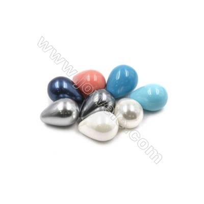 Eletroplating Colorful Shell Pearl Half-drilled Beads  Waterdrop  Size 14x19mm  Hole 0.8mm  25pcs/pack