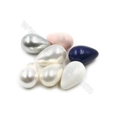 Eletroplating Colorful Shell Pearl Half-drilled Beads  Waterdrop  Size 16x25mm  Hole 0.8mm  20pcs/pack
