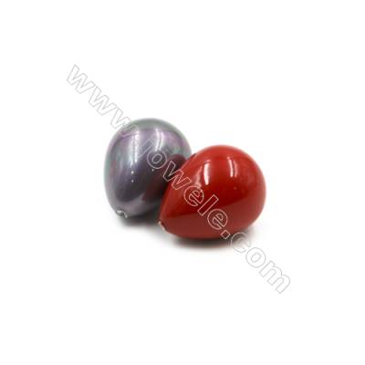 Eletroplating Colorful Shell Pearl Half-drilled Beads  Waterdrop  Size 18x23mm  Hole 0.8mm  15pcs/pack