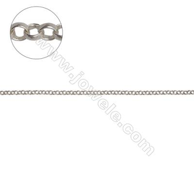 Sterling silver cross chain O chain for jewelry making-H8S14 diameter1.8mm thick 0.4mm x 1meter