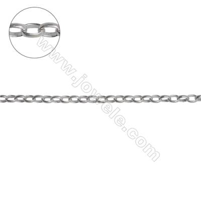 Sterling silver oval cross chain-H8S15 size 2.6x3.7x1.0mm x 1meter
